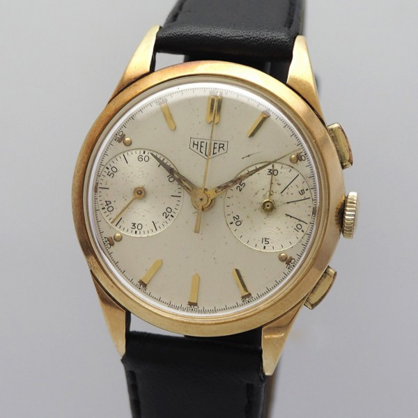 Heuer Pre-Carrera 14k/585/- Gold Valjoux 23 Vintage Chronograph