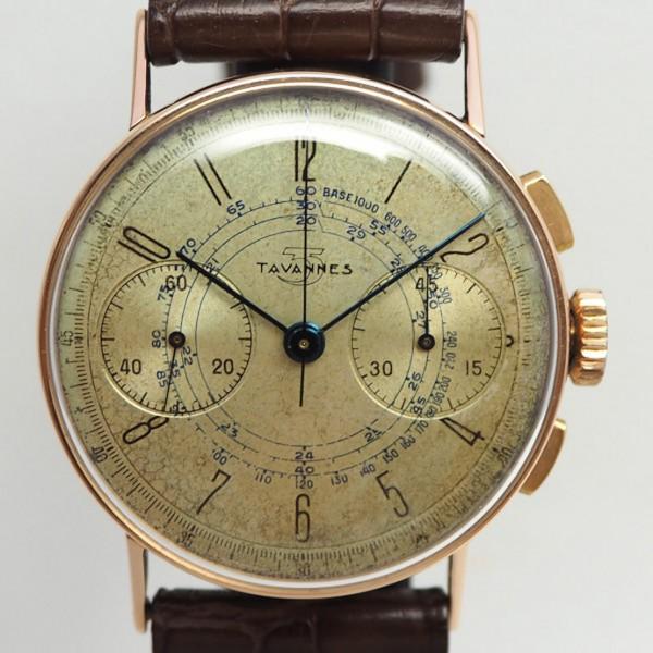 Tavannes Vintage Chronograph Venus 152 18k/750 Rotgold