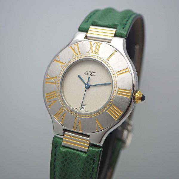 Cartier Must de Cartier 21 Stahl-Gold, Box Lederband extra