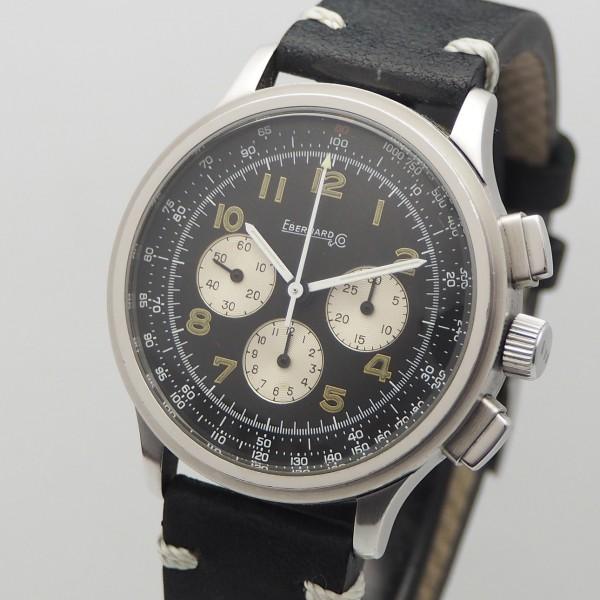 "Eberhard & Co Vintage Chronograph ""Aviograf"", Stah / Leder, B & P"