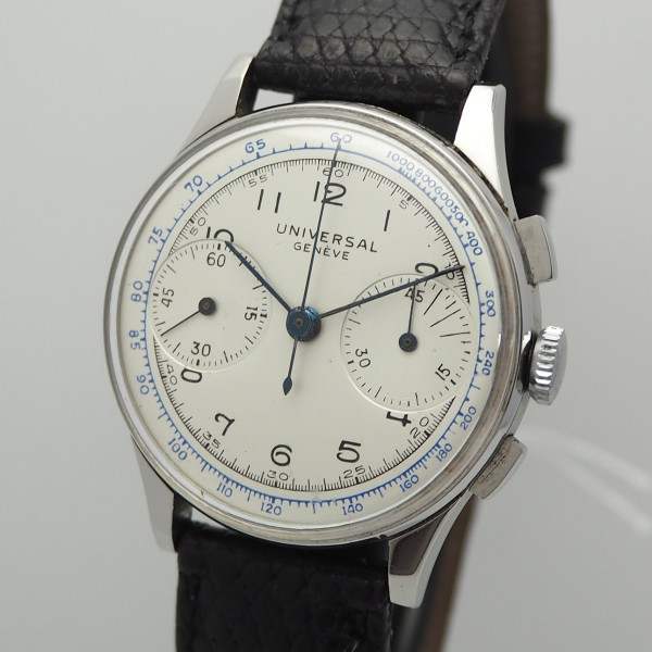 Universal Geneve Vintage Chronograph Stahl/ Leder 22433