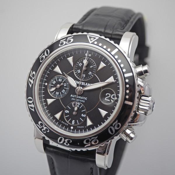 Montblanc Sport Chronograph 7034, Stahl/ Leder, Box+Papiere 2013, TOP