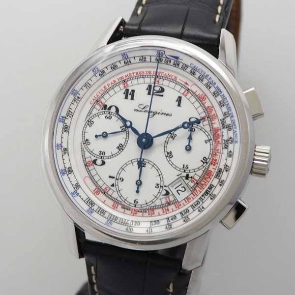 Longines Heritage Tachymeter Chronograph -Stahl/ Leder, Box+Papiere neu/ungetragen!