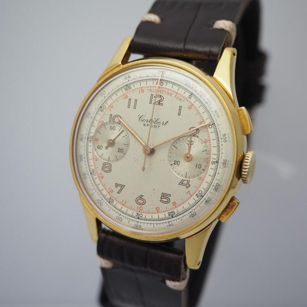 Cortebert Sport Chronograph, Vintage, Cal. 429, Stahl vergoldet/Leder, Ref. 6093