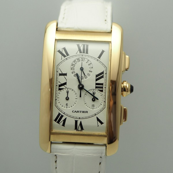 Cartier Tank Americaine Chronoflex Chronograph Gold 18k/750 Box & Papiere- -super Full-Set