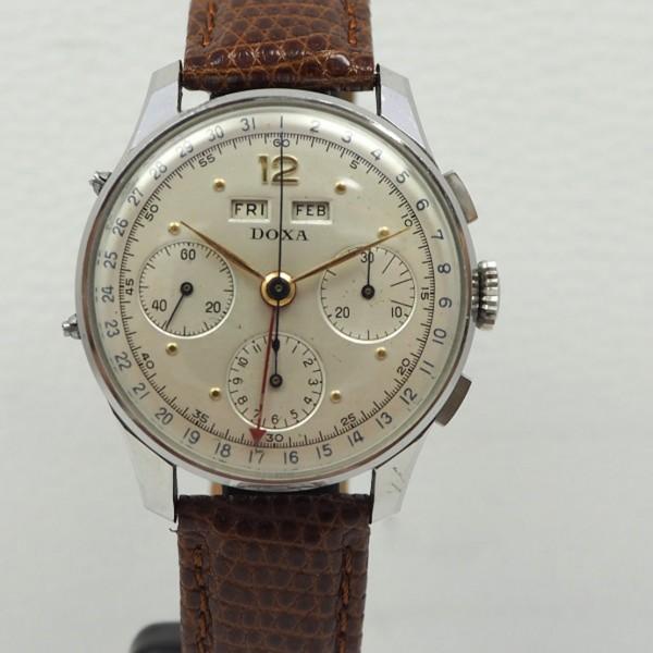 Doxa Calendar Day-Month-Date Chronograph Vintage Valjoux 72c