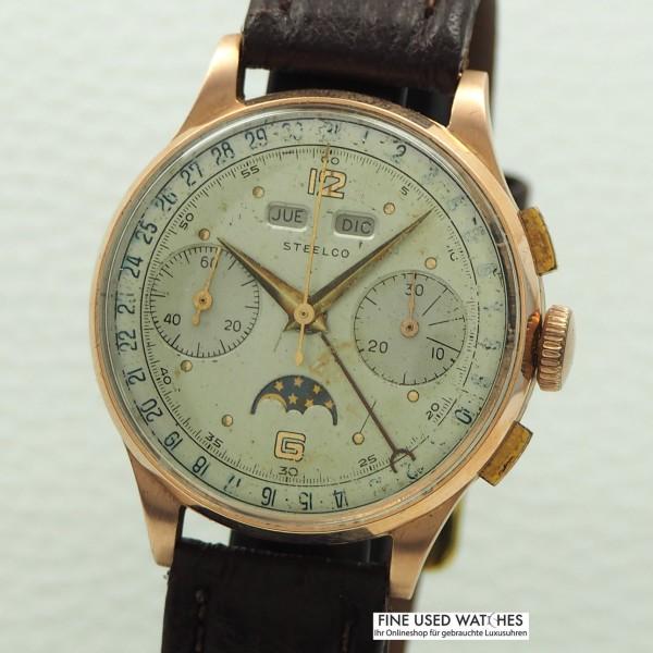 Steelco Vintage Chronograph Vollkalender mit Mondphase 14k/585 Rosegold Venus 200