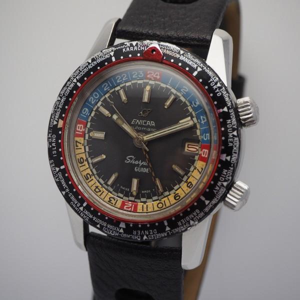 Enicar Sherpa GMT Diver, Stahl/Leder 2342/ 148-35-01