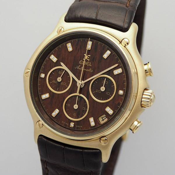 Ebel 1911 Chrono 18k Gold Full Set Wood Dial Diamonds 8134901