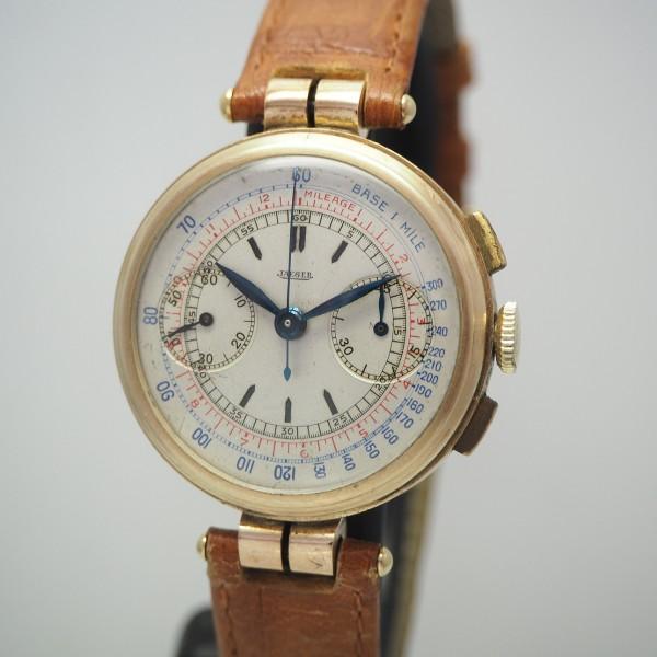 Jaeger Chronograph Vintage 9kt Gold/ Leder, Cal.281, round 1930, very rare