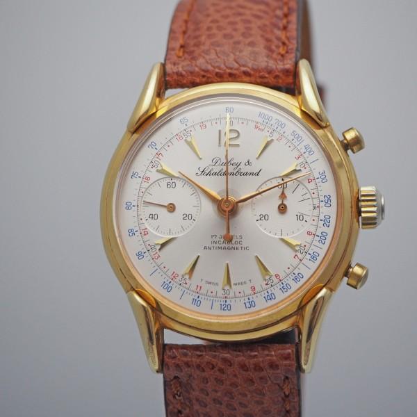 Dubey & Schaldenbrand vintage Chronograph, Leder/Stahl vergoldet,