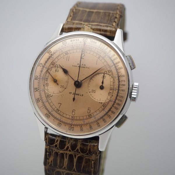 Alfa Chronograph, Vintage, Val. 22, Stahl/Leder