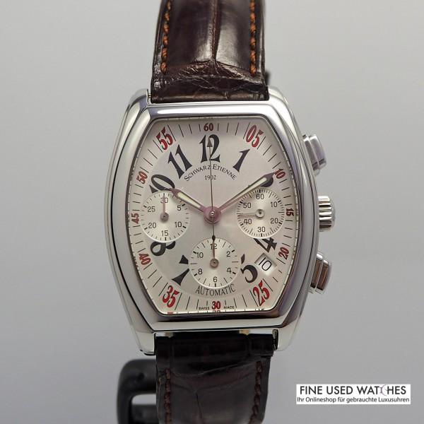 Schwarz Etienne Villeroy Chronograph Tonneau -Stahl/Leder