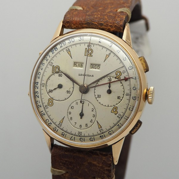 Leonidas Vollkalender Chronograph 18k Gold valjoux Cal.72c