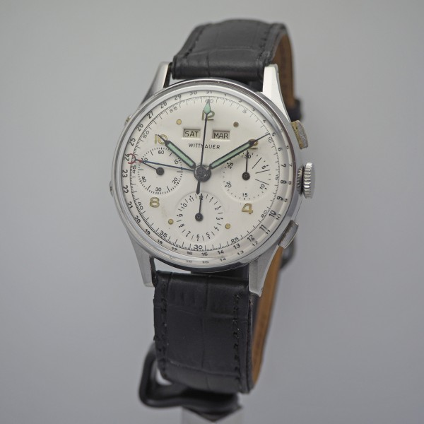 Wittnauer vintage Chronograph Val. 72c Vollkalender 3 Register Stahl/Leder