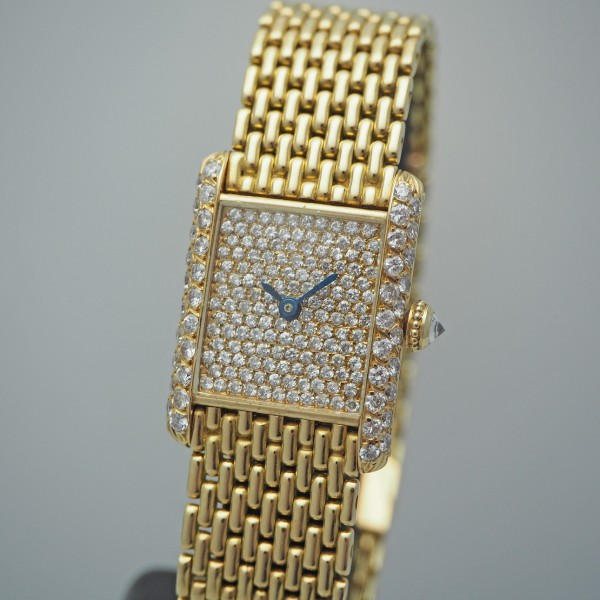 Cartier Tank Louis, Handaufzug, Gold 18k/750, Diamonds, Box & Papiere