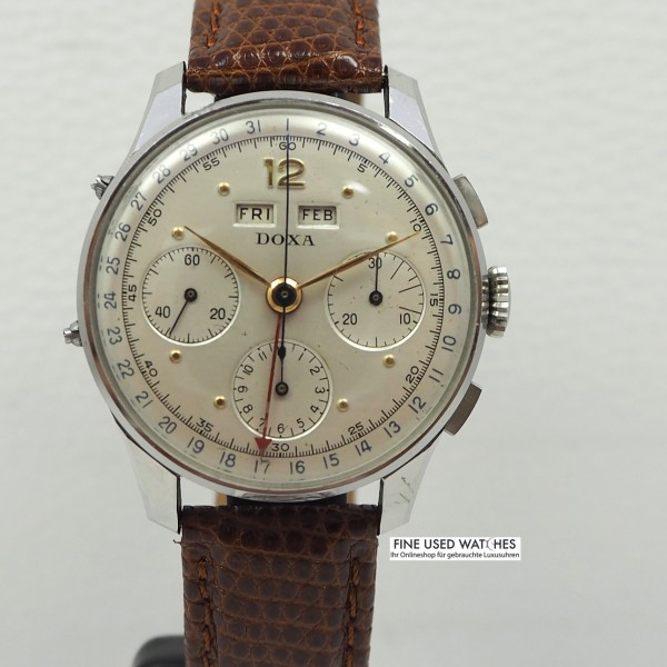 Doxa Calendar Day-Month-Date Chronograph Vintage Valjoux 72c