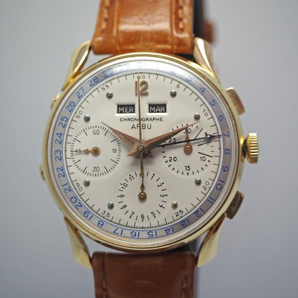 Arbu Vollkalender Chronograph 18k Gold Valjoux Cal.72c