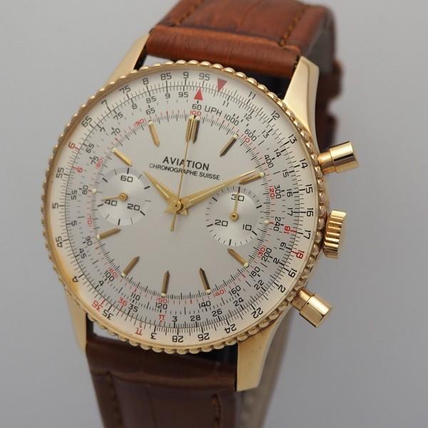 Ollech & Wajs Aviation Chronograph, NOS, 18k/750 Gold