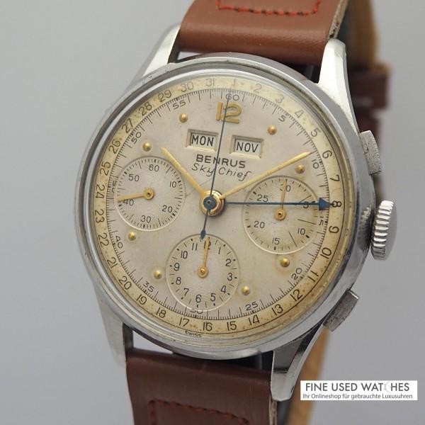 Benrus Sky-Chief Calendar Chronograph Stahl/Leder Valjoux 72C