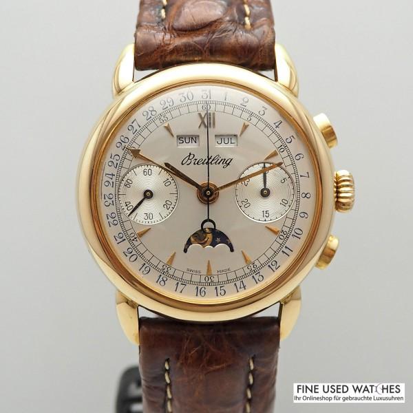 Breitling Vintage Triple Calendar Chronograph mit Mondphase Ref.1939 18k Rosegold selten