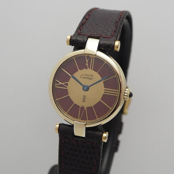 Cartier Must de Cartier 925/- Silber vergoldet Mirror Burgund Dial Quartz
