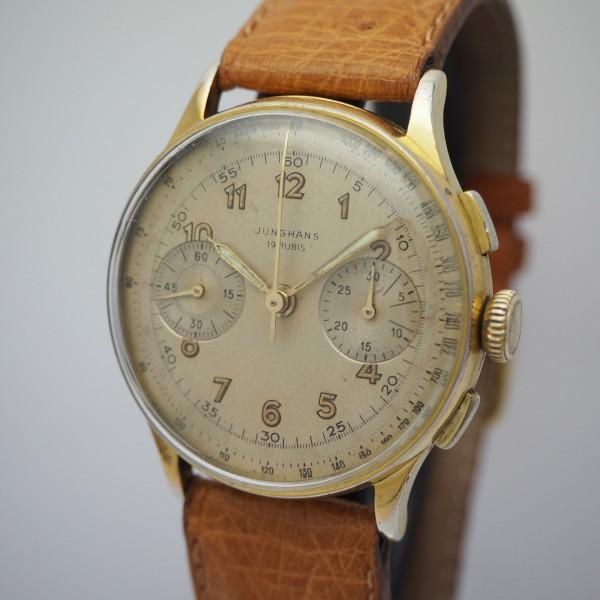 Junghans Chronograph vintage, Handaufzug Cal. 88, Stahl vergoldet