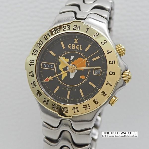 Ebel Sportwave Meridian Worldtime Stahl/Gold, 40mm Ref.E6122641