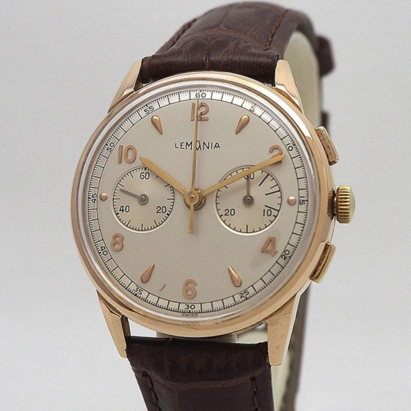 Lemania Vintage Chronograph 18k/ 750/- Rose´- Gold