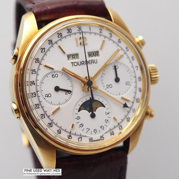 Tourneau Triple Date Chronograph Vollkalender Mondphase Cal.730/88 -Gold 18k/750
