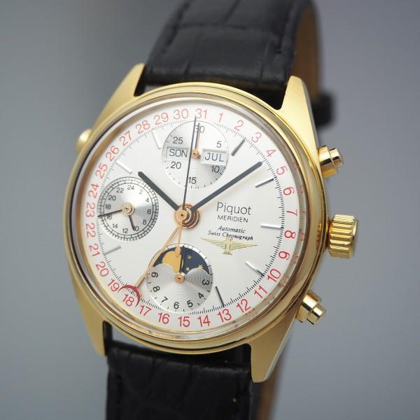 Piquot Meridien Swiss Chronograph Vollkalender Moon NOS